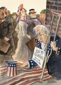 Illustration of Uncle Sam on Skids